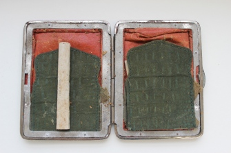 Shoreham trained soldier Edmund Goodchild's cigarette case. Courtesy of the Trustees of the Suffolk Regiment Museum.