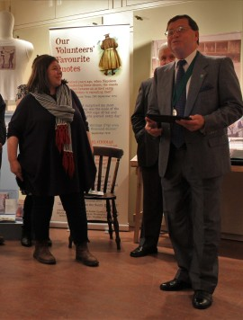 Emma O'Connor, Sussex Archaeological Society's Museum Officer and Chairman Carson Albury, delivering thank you speeches.